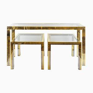 Consolle e due tavolini Mid-Century in ottone e metallo cromato, Italia, anni '60