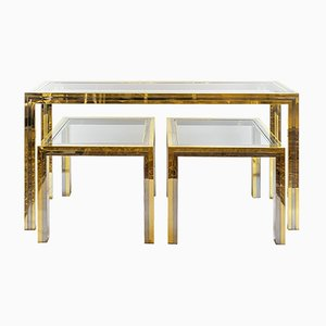 Mid-Century Italian Brass & Chrome Console & 2 Side Tables, 1960s