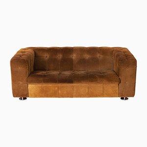 Kamelbraunes 2-Sitzer Sofa aus Wildleder auf Chromfüßen