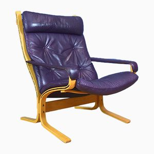 Norwegian Leather Lounge Chair by Ingmar Relling for Westnofa, 1970s