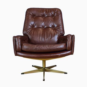 Danish Brown Leather Swivel Lounge Chair, 1970s