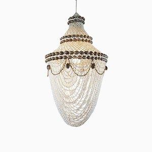 Lámpara de techo de concha en macramé, años 70