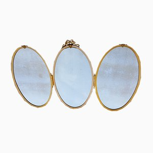 Large Brass Triptych Mirror, 1940s