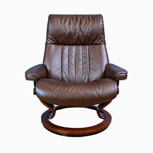 Vintage Stressless Brown Leather Swivel Armchair from Ekornes