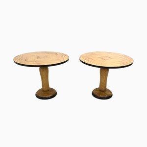 Mesas de comedor Mid-Century redondas de madera de olivo y fresno, años 40. Juego de 2
