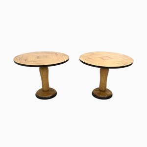 Round Mid-Century Dining Tables in Olive Wood and Ash, 1940s, Set of 2