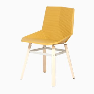 Wooden Chair with Yellow Seat by Mobles114