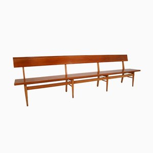 Large Mid-Century Scandinavian Wooden Bench