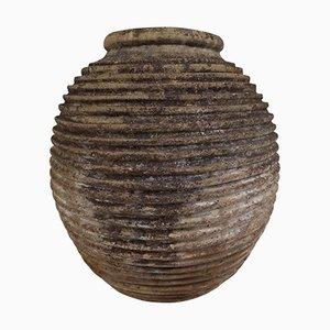 Large 19th Century Greek Ribbed Olive Jar with Dark Lichen Patination