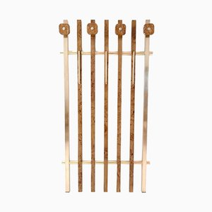 Italian Birch Root & Brass Coat Rack with Red Travertine Hooks, 1970s