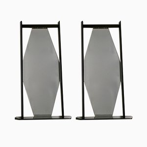 Espejos de pared Mid-Century de madera ebonizada negra, años 60. Juego de 2