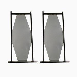 Schwarze ebonisierte Mid-Century Spiegel mit Holzrahmen, 1960er, 2er Set