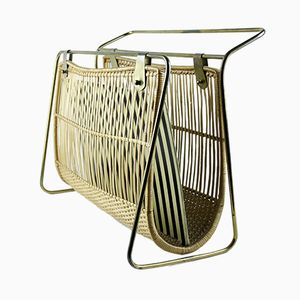 Mid-Century Newspaper Rack in Brass & Wicker, 1960s