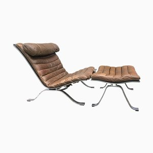 Ari Lounge Chair & Ottoman in Leather and Steel from Arne Norell, 1965