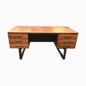 Mid-Century Danish Matte Rosewood Desk by Henning Jensen and Torben Valeur for Schou Andersen, 1960s