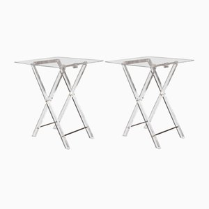 Vintage Folding Plexiglas Side Tables, 1970s, Set of 2