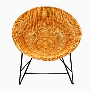 Mid-Century Rattan Side Chair, 1960s