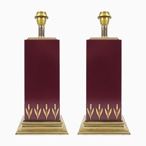 French Brass & Laminated Lamps from Le Dauphin, 1970s, Set of 2