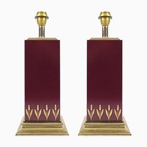 Lámparas francesas de latón y laminado de Le Dauphin, años 70. Juego de 2