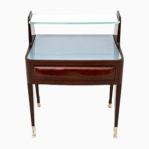 Italian Rosewood Nightstands with Crystal & Glass, 1950s, Set of 2