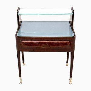 Mesitas de noche italianas de palisandro con vidrio y cristal, años 50. Juego de 2