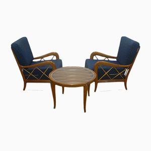 Poltrone e tavolino da caffè di Paolo Buffa, anni '50