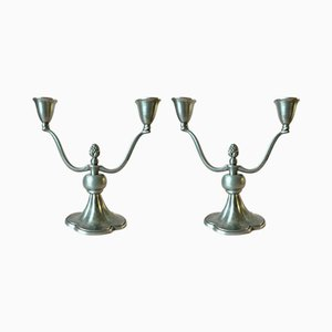 Pewter Candle Holders by Just Andersen, 1930s, Set of 2