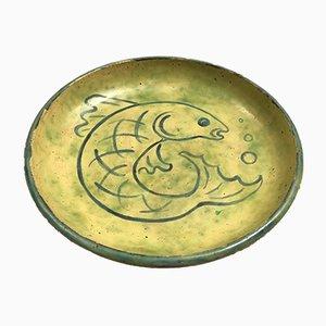 Vintage Keramikteller mit Fisch-Motiv