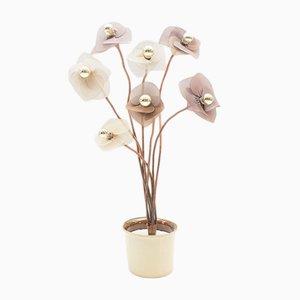 Lámpara de pie Regency floral vintage, años 60