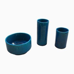Coupelle et 2 Vases en Céramique Bleue par Pol Chambost, 1976