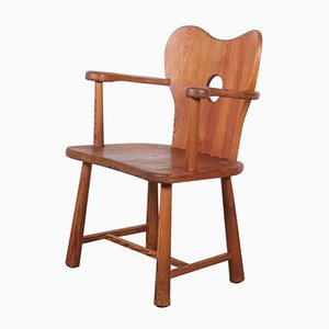 Vintage Hand-Crafted Solid Pine Armchair by Bo Fjaestad, 1930s
