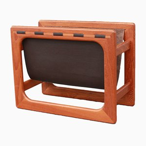 Danish Teak & Leather Magazine Rack from Salin Møbler, 1950s