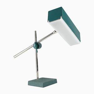 Schreibtischlampe mit verchromtem Gelenkarm in Petrolblau von Leclaire & Schäfer, 1960er