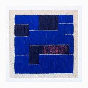 Blaue Textilkunst-Wandarbeit von Zuzana Lalikova