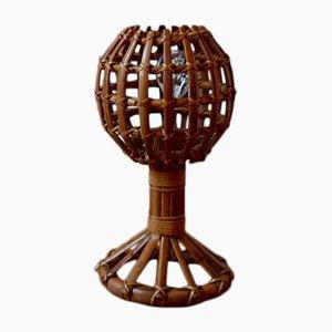 Lámpara de mesa vintage de ratán