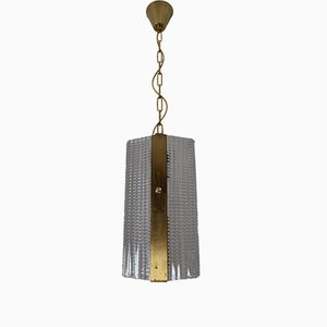Lampada vintage in ottone e vetro, anni '70