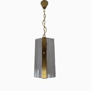 Vintage Brass & Glass Pendant, 1970s