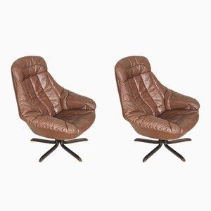 Sedie in pelle di H. W. Klein per Bramin, Danimarca, anni '60, set di 2