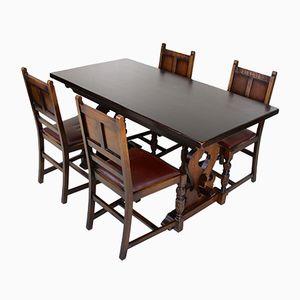 Vintage Esstisch & 4 Stühle aus Eiche