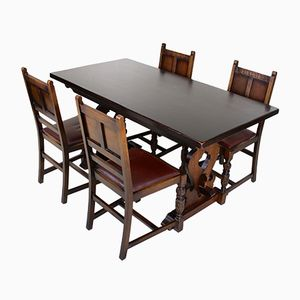 Vintage Oak Dining Table & 4 Chairs