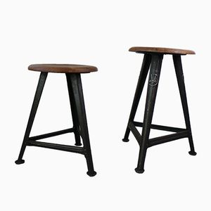 Vintage Industrial Stools by Robert Wagner for Rowac, 1930s, Set of 2