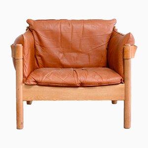 Sedia in pelle color cognac, Danimarca, anni '60