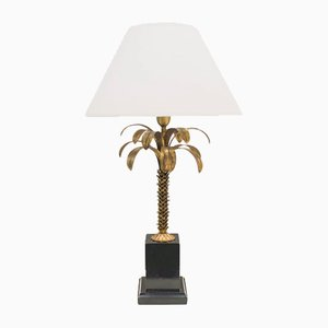 Vintage French Metal Palm Table Lamp, 1960s