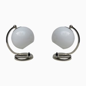 Lámparas de mesa de noche vintage cromadas de WMF. Juego de 2