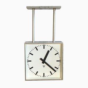 Reloj de dos caras industrial cuadrado grande de Pragotron, años 60