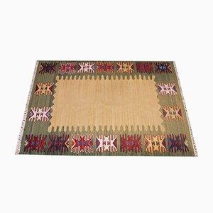 Flachgewebter schwedischer Mid-Century Teppich von Helge Hamnert