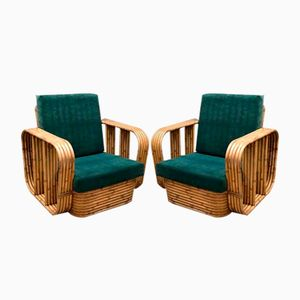 Vintage Rattan & Bamboo Lounge Chairs, Set of 2