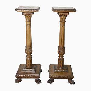 Antike Säulen aus geschnitztem Nussholz aus der Neorenaissance, 1880er, 2er Set