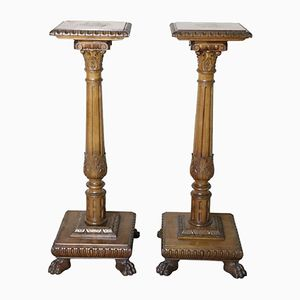Antique Neo-Renaissance Columns in Carved Walnut, 1880s, Set of 2
