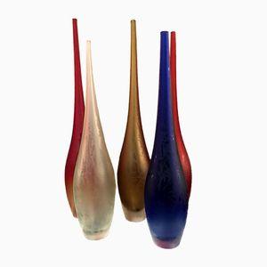 Vasi in vetro di Murano di Alberto Dona, anni '80, set di 5